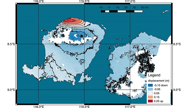 Lombok earthquake causes a permanent ground-shift