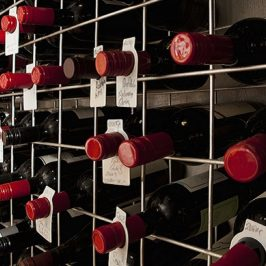 Stacked wine bottles