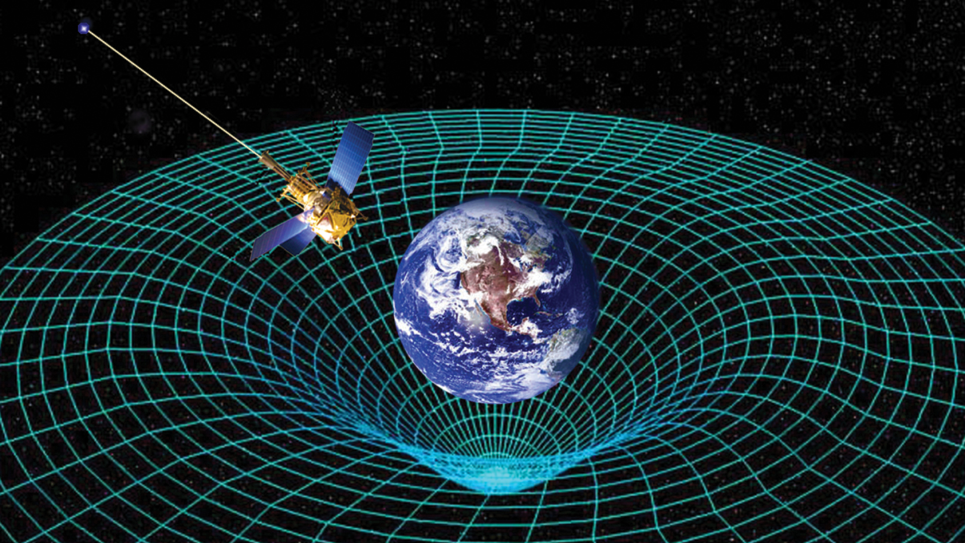 Graphic of the Earth warping space-time as a satellite orbits