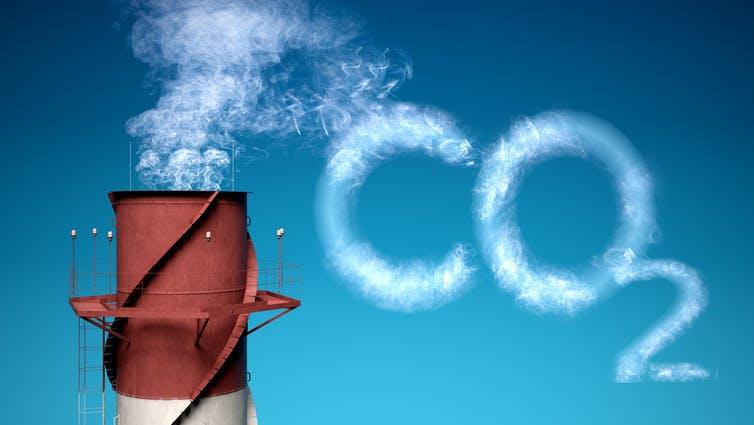 Chimney emitting smoke in the shape of CO2