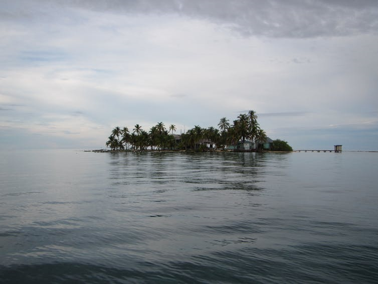 The research station off the coast of Belize just looks like an island in the ocean.