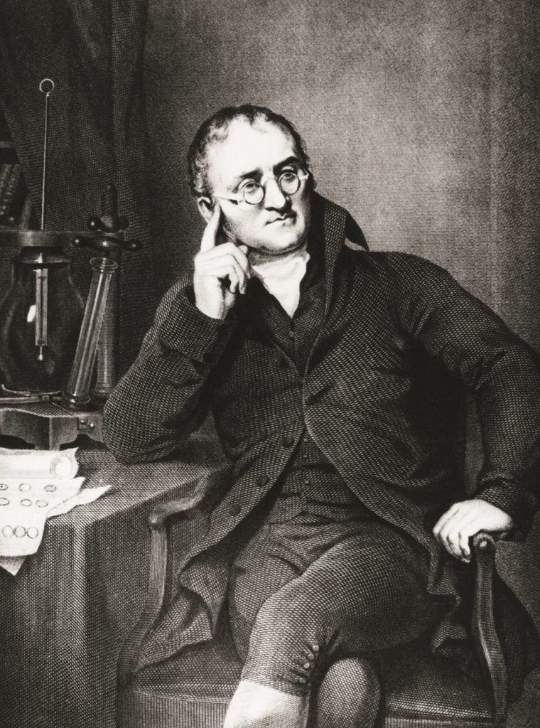 Photograph of John Dalton who deduced that atoms of different elements vary in size and mass.