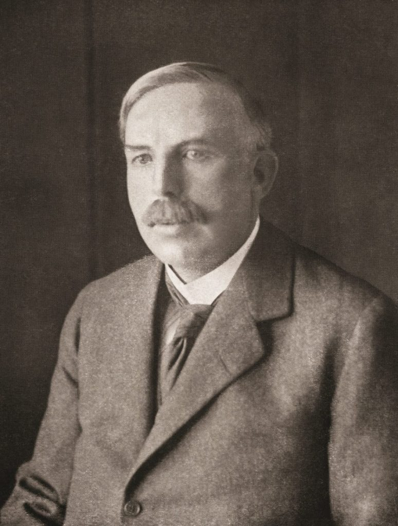 Photograph of Rutherford who described the positive charge of nucleus of an atom