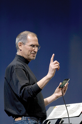 Steve Jobs demonstrating the first iPhone.