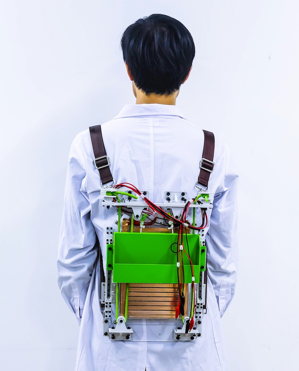 The prototype backpack being worn