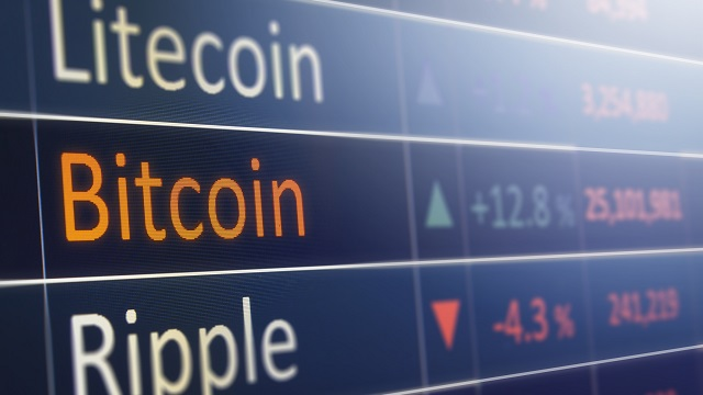 Bitcoin exchange concept. Currency, cryptocurrency and financial market values.