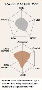 Flavour profile of a sourdough starter, Frank.