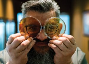 Karl De Smedt looking through petri dishes containing yeast that goes into sourdough samples