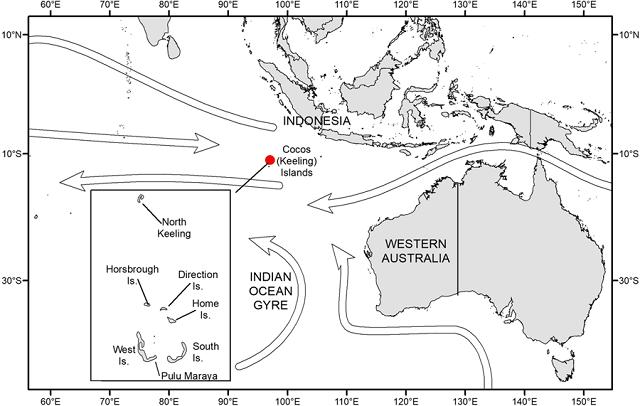 Plastic accumulation Cocos Keeling Islands ocean currents